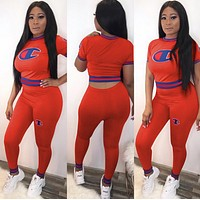 Champion Women Short Sleeve Top Trousers Set Two-Piece