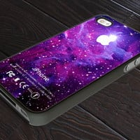 Super Strom Purple Galaxy Nebula With Apple Logo - Print On Hard Cover - For iPhone 4, 4S, and iPhone 5 Case - Black, Clear, and White