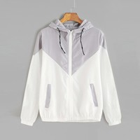 Women's Color Block Drawstring Long Sleeve Hooded Zip Up Sports Jacket Windproof Windbreaker