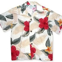 makaha cream hawaiian boy shirt