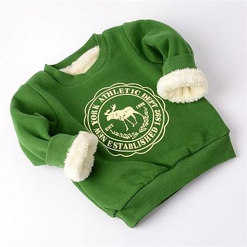 BibiCola Baby Boy Girls winter Jacket Boys Autumn Pullover Clothes Children Sweatshirts Kids Girl Plus velvet thick Tops Costume