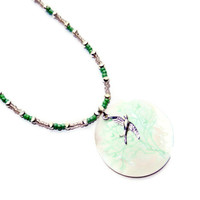 Pastel Pink and Green Beaded Necklace with Bird Shell Charm