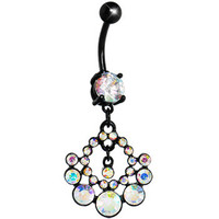 Black Aurora Gem Midnight Sun Circle Belly Ring | Body Candy Body Jewelry