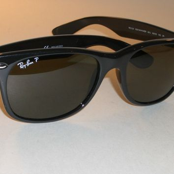 RAY BAN RB2132 55[]18M SHINY BLACK G15 POLARIZED GLASS WAYFARER SUNGLASSES