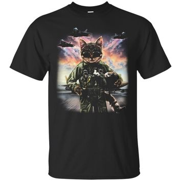 T-Shirt, Cat Impersonate US Air Force F20 Raptor Pilot