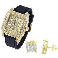 Men's Square face Iced out 14k Gold Finish Watch & Earrings Combo Set