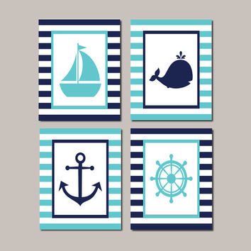 Kids Nautical Bathroom Decor Boy Nursery Decor Nursery Wall Art