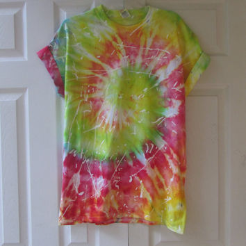 Paint Splattered Ice Tie Dyed Unisex Tee Shirt