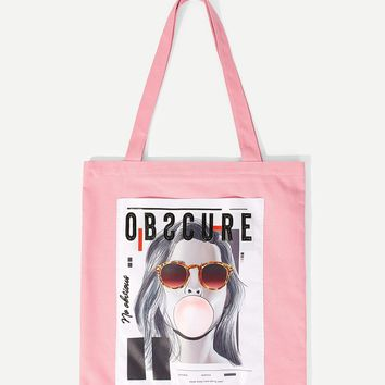 Letter And Figure Print Tote Bag