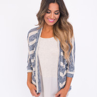 Navy/Cream Knit Open Cardi
