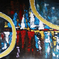 ART Collections Painting Art Gallery Modern Urban Blue Red Modern Contemporary Abstract Horizon Gold Circles Original By Kathleen Artist PRO