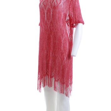 "Lace Fringe Dress XL Sheer Tunic Dress Vintage Dress Tunic Top Coral Pink 80s Clothing Party Dress Vintage Clothing Women's Size XL 48"" Bust"