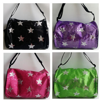 Glory Collection Sequin Stars DANCE CHEER GYMNASTICSGirls Kids One Strap Duffle Bag