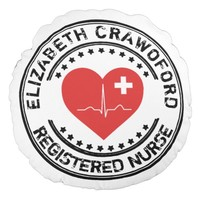Registered Nurse Stamp Heart ECG With Your Name Round Pillow