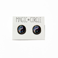 """Holographic Sparkle Yin Yang Earrings or Plugs Peace Hippe 90s Grunge 0g 00g 7/16"""" 1/2"""" 9/16"""" 5/8"""""""