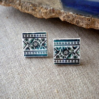 Portugal  Antique AZULEJO Tile Replica Earrings Post Stud by Atrio