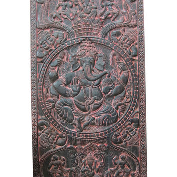 Blessing Ganesh, antique door panels Hand Carved Decorative Wood Wall Panels 72 X 36