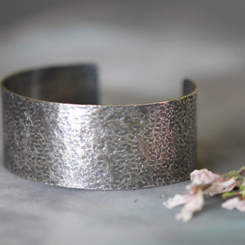 "Hammered Sterling Silver Cuff, 1"" Cuff Bracelet, Hand Textured, Wide Cuff, Rustic, Modern, Edgy"