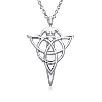 Celtic Goddess Tree Triquetra Pendant Necklace 925 Sterling Silver