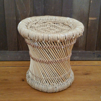 Vintage Round Rattan Side Table Foot Stool