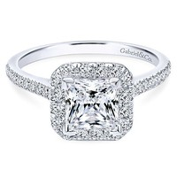 14K White Gold 1.37cttw Cushion Shaped Halo Diamond Engagement Ring with Princess Center