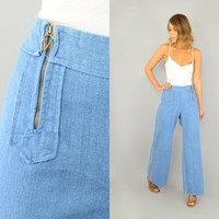 70's Medium Blue DOUBLE ZIP Wide Leg hippie bohemian high waist Bell Bottom JEANS, medium-large