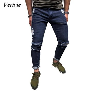 VERTVIE 2018 Skinny Ripped Jeans For Men Male Ripped Motorcycle Denim Pants Fashion Brand Swag Hole Hip PopBiker Jeans