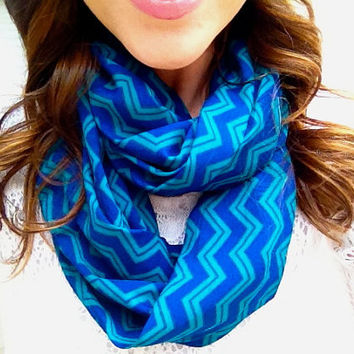 On Sale- Chevron Teal and Cobalt Infinity Scarf