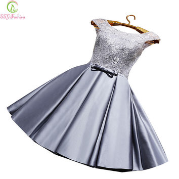 Robe De Soiree 2017 SSYFashion Bride Short Lace Stain Elegant Gray Cocktail Dresses Sleeveless A-line Sexy Formal Party Gown