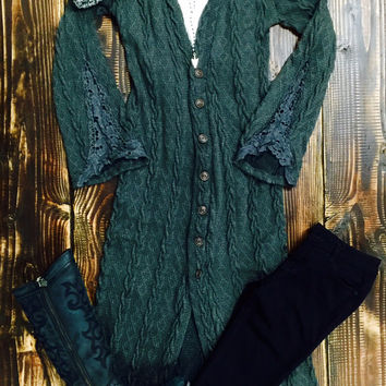 Cable Knit Duster With Lace Sleeve Detail