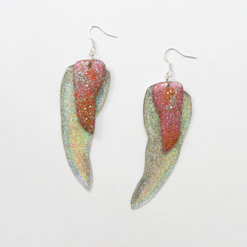 Large Iridescent Earrings, Holographic Dangling Earrings, Glitter Sparkling Earrings, Resin Dangles, Unique Gift for Her, Statement Earrings