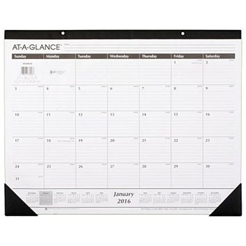 AT-A-GLANCE Monthly Desk Pad Calendar 2016, Ruled, 21-3/4 x 16 Inches (SK2400)
