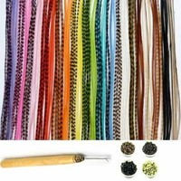 "New 21 Pc Kit "" Vivid Mix 7""-11"" Feather Hair Extensions"" 10 Long Genuine Single Feathers + 10 Micro Beads & 1 Hook Tool (Colors Will Be Chosen Randomly)"
