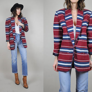 vtg SOUTWESTERN striped 80's native BLANKET COAT jacket wool Boyfriend Blazer