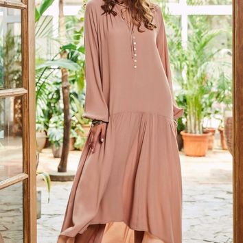 A| Chicloth Beige String Super Long Holiday Dress
