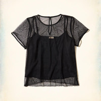 Girls Mesh Overlay Cami Crop Top | Girls New Arrivals | HollisterCo.com