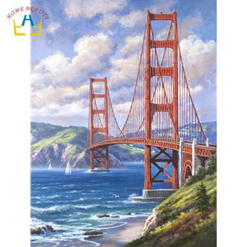 cross-sea bridge pictures by numbers on canvas wall art paintings for the kitchen home decor drawing with acrylic paints WY5144