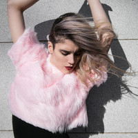 Bubblegum Pink Furry Crop Top // Vegan Faux Fur // Light Pink Kawaii Oversized Top // Pastel Goth // VIXENSCREAM