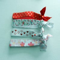 Elastic Hearts, Flowers and Polka Dot Hair Ties, Set of 4, No Tug Hair Ties
