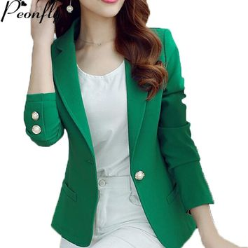 PEONFLY Green/Yellow Single Button Ladies Blazers Women 2018 Spring Autumn Women Suit Jacket Blazer Femme Office Tops Coats