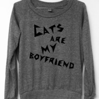 Cat Shirt - Cats are my boyfriend - Grey