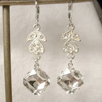 Vintage Art Deco Clear Pave Rhinestone Silver Bridal Leaf Dangle Earrings, OOAK 1920s Crystal Drop Earrings Great Gatsby Flapper Jewelry
