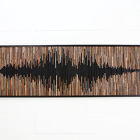 Wood wall art, abstract sound wave