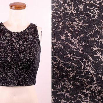 Vintage 80s 90s - Black & Silver Grey Abstract Print - Stetch Spandex - Cropped Half Crop Top Tank - Athletic Workout Yoga