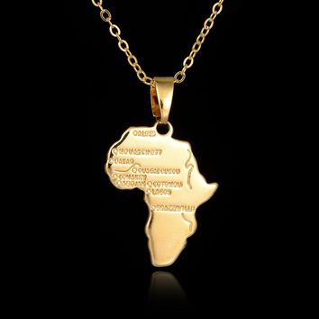 Great Gold-color Africa Country Map Pendant Necklace 2017 Fashion Jewelry Personalized Necklace For Women Men Accessories Kolye