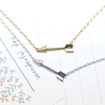 Tiny Piercing Arrow Necklace in gold silver