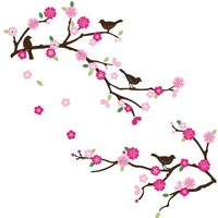 Cherry Blossom & Birds Decorative Nursery/Room Wall Sticker Decals
