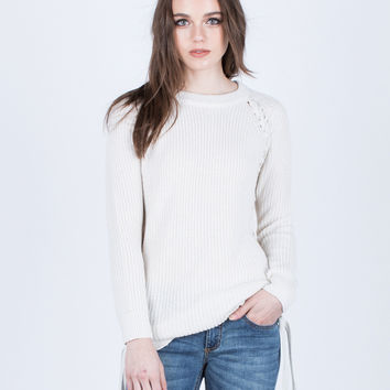 Side Lace-Up Sweater Top