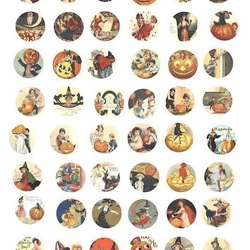 Halloween images witches black cats pumpkins children vintage clip art  collage sheet 1 inch circles