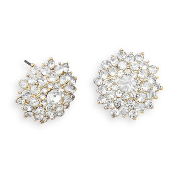 Sparkling Gold Tone Crystal Post Earrings